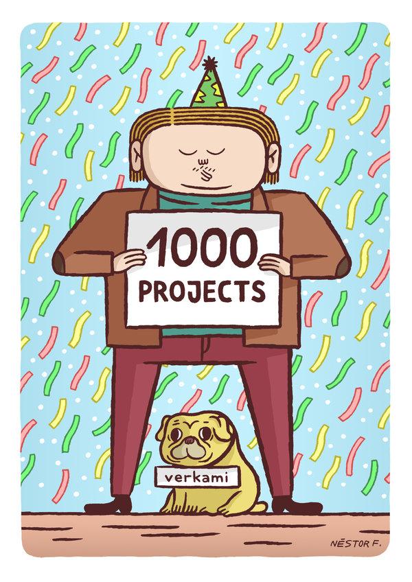 El crítico cultural Bruno Kolin y su perro Truchi, hijos del maestro Nestor F. celebrando los 1.000 proyectos crowdfundeados!